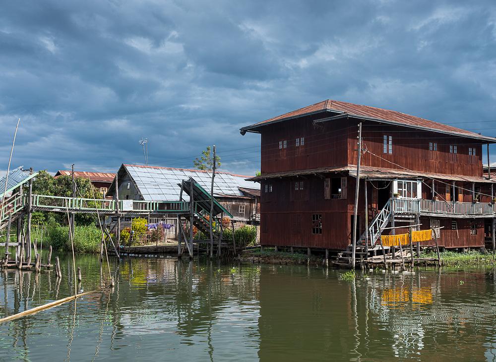 INLE LAKE, MYANMAR - CIRCA DECEMBER 2017: Typical house built on stilts in Inle Lake, Myanmar