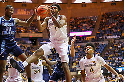 Dec 1, 2019; Morgantown, WV, USA; West Virginia Mountaineers forward Derek Culver (1) rebounds the ball during the first half against the Rhode Island Rams at WVU Coliseum. Mandatory Credit: Ben Queen-USA TODAY Sports