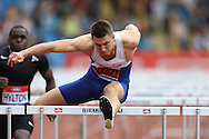 Andrew Pozzi competing in the Men's 110m Hurdles race. The British Championships 2016, athletics event at the Alexander Stadium in Birmingham, Midlands  on Sunday 26th June 2016.<br /> pic by John Patrick Fletcher, Andrew Orchard sports photography.