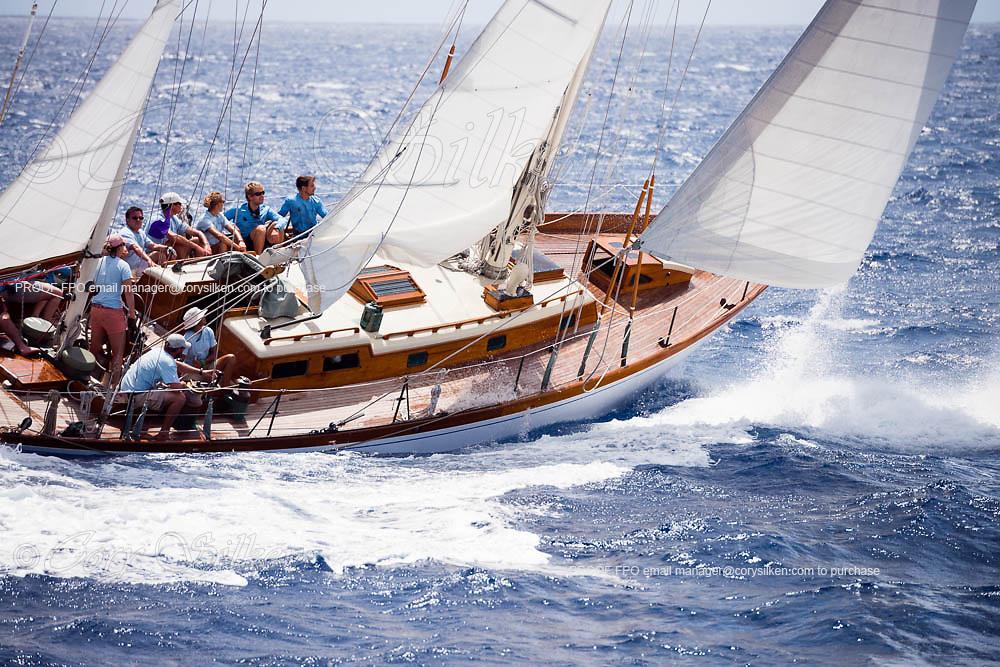 Saphaedra sailing in the Antigua Classic Yacht Regatta, Old Road Race.