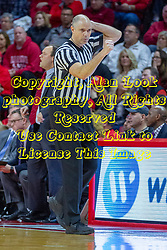 NORMAL, IL - February 16: Jeff Malham calls an offensive charging foul during a college basketball game between the ISU Redbirds and the Bradley Braves on February 16 2019 at Redbird Arena in Normal, IL. (Photo by Alan Look)