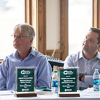 (Left to right) Martin O'Malley, general manager of Gallup Land Partners and Jake Bracken, CEO of Gallup Land Partners are honored for Excellence in Business 2019 by GGEDC at a luncheon Tuesday, May 7 in Gallup.