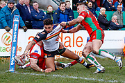 Bradford Bulls winger Dalton Grant (5) is stopped from reaching the try line during the Betfred League 1 match between Keighley Cougars and Bradford Bulls at Cougar Park, Keighley, United Kingdom on 11 March 2018. Picture by Simon Davies.