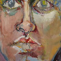 During my time at the Factory of Visual Arts in Seattle in the 70s, my professor Paul Brekke asked us to work on painting the face. We took elements of the face - a piece of the lip, the top of the nose, one eyelid - and did them all individually, as large abstractions. They freed me up to be much more creative with color and form when I did the whole portrait as one. Materials: Oil on canvas