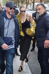 Gigi Hadid leaving her hotel against the Paris fashion week in Paris, France, September 26 2017. Photo by Nasser Berzane/ABACAPRESS.COM