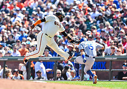 April 8, 2018 - San Francisco, California, U.S. - SAN FRANCISCO, CA - APRIL 08: San Francisco Giants Infield Pablo Sandoval (48) completes catch and tags out Los Angeles Dodgers Catcher Austin Barnes (15) while still in the air during a regular season game between the Los Angeles Dodgers and San Francisco Giants on April 8, 2018, at AT&T Park in San Francisco, CA. (Photo by Stephen Hopson/Icon Sportswire) (Credit Image: © Stephen Hopson/Icon SMI via ZUMA Press)