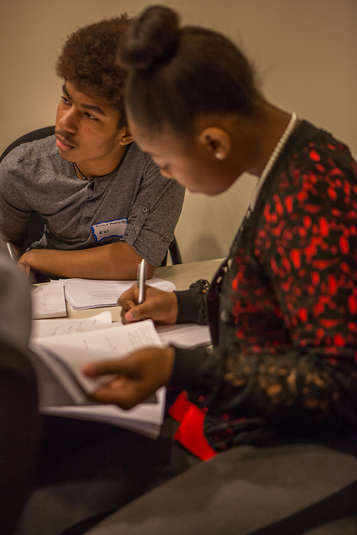 Purchase, NY – 31 October 2014. Early College High School student Jamika Holmes taking notes. The Business Skills Olympics was founded by the African American Men of Westchester, is sponsored and facilitated by Morgan Stanley, and is open to high school teams in Westchester County.