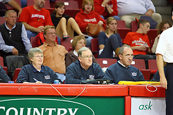 26 October 2007: The Drake Bulldogs were defeated 3 - 0  by the Illinois State Redbirds at Redbird Arena on the campus of Illinois State University in Normal Illinois. .<br /> <br /> Shown on the bench crew (L-R):<br /> Jan Johnson <br /> Dave Gerdes <br /> Mike Lockett
