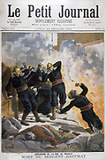 Death of Sergeant Bauchat of the Paris Fire Brigade while attending a fire in the rue Reuilly.  From 'Le Petit Journal', Paris, 26 February 1894. France, Accident, Explosion