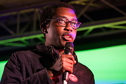 London, UK. 15th January, 2019. Amatey Doku, Deputy President at the National Union of Students (NUS), addresses pro-EU activists attending a People's Vote rally in Parliament Square as MPs vote in the House of Commons on Prime Minister Theresa May's proposed final Brexit withdrawal agreement.