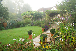 View of the garden on a misty autumn morning. Stone path with box balls in terracotta pots.