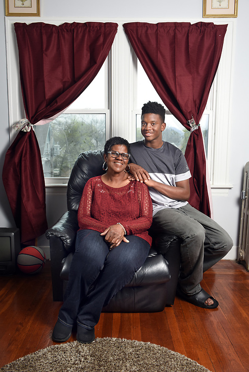 Photo by Mara Lavitt<br /> New Haven, CT<br /> April 22, 2017<br /> Kim Hart at home in New Haven with her son Arthur Brown.