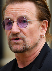 U2 lead singer and co-founder of the organisation ONE Bono speaks to the press after a meeting at the Elysee Palace in Paris, France, on July 24, 2017. Photo by Christian Liewig/ABACAPRESS.COM