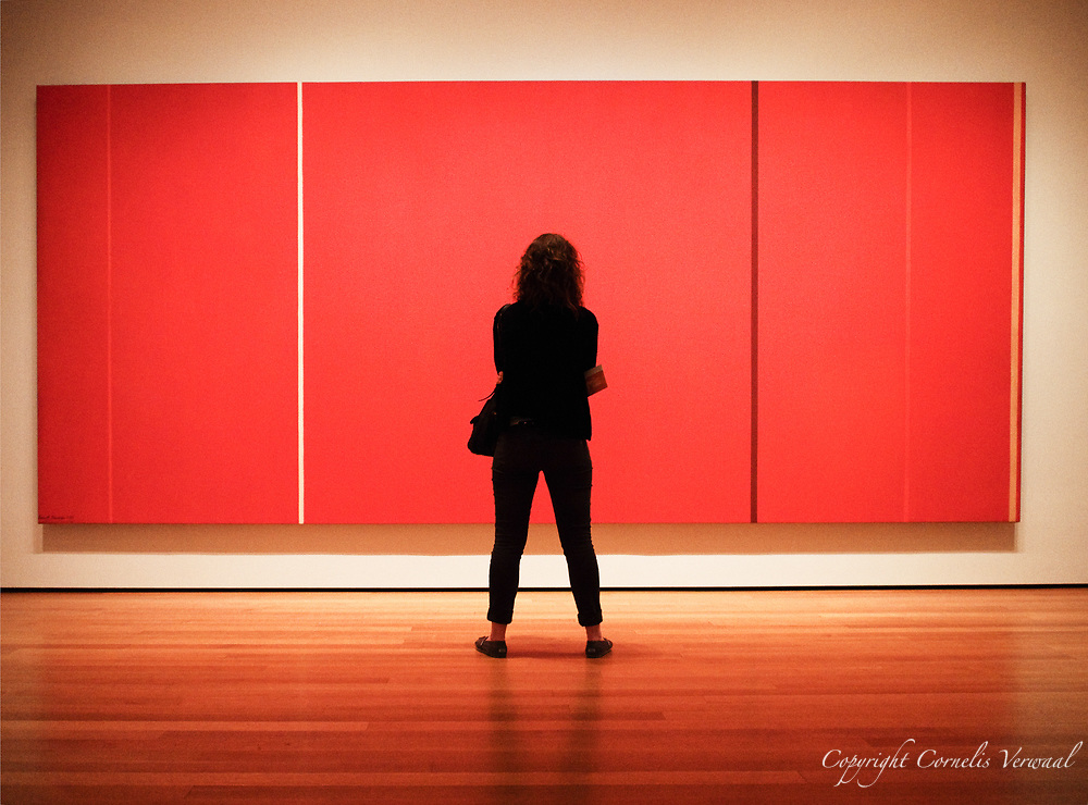 """Inspecting  Barnett Newman's<br /> Vir Heroicus Sublimis """"Man, heroic and Sublime""""  at MoMA (Museum of Modern Art) in New York City."""
