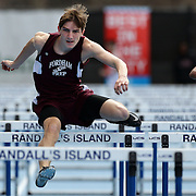 Christian Doherty, Fordham Prep, winning the Boy's 110M hurdles during the 2013 NYC Mayor's Cup Outdoor Track and Field Championships at Icahn Stadium, Randall's Island, New York USA.13th April 2013 Photo Tim Clayton