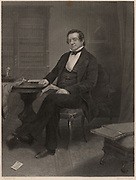 Washington Irving (1783-1859), American author and diplomat, born in Manhattan.  He is best remembered for his short stories such as 'The Legend of Sleepy Hollow' and 'Rip van Winkle'. Engraving.