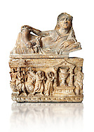 Etruscan Hellenistic style cinerary, funreary, urn , inv no 5774,  National Archaeological Museum Florence, Italy , white background .<br /> <br /> If you prefer to buy from our ALAMY PHOTO LIBRARY  Collection visit : https://www.alamy.com/portfolio/paul-williams-funkystock - Scroll down and type - Etruscan Florence - into LOWER search box. (TIP - Refine search by adding a background colour as well).<br /> <br /> Visit our ETRUSCAN PHOTO COLLECTIONS for more photos to download or buy as wall art prints https://funkystock.photoshelter.com/gallery-collection/Pictures-Images-of-Etruscan-Historic-Sites-Art-Artefacts-Antiquities/C0000GgxRXWVMLyc