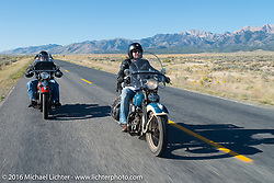Matt McManus riding his 1936 Harley-Davidson Knucklehead during stage 12 (299 m) of the Motorcycle Cannonball Cross-Country Endurance Run, which on this day ran from Springville, UT to Elko, NV, USA. Wednesday, September 17, 2014.  Photography ©2014 Michael Lichter.