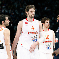 15 July 2012: Pau Gasol of Team Spain looks dejected next to Jose Calderon of Team Spain during a pre-Olympic exhibition game won 75-70 by Spain over France, at the Palais Omnisports de Paris Bercy, in Paris, France.