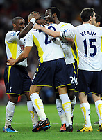 Jake Livermore Celebrates Scoring goal with team mate Jermain Defoe<br /> Tottenham Hotspur 2009/10<br /> Tottenham Hotspur V FC Barcelona (1-1) 24/07/09<br /> The Wembley Cup at Wembley Stadium<br /> Photo Robin Parker Fotosports International