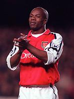 Sylvian Wiltord (Arsenal). Arsenal 1:2 Ipswich Town, Worthington Cup, Third Round, 1/11/2000. Credit Colorsport / Stuart MacFarlane.