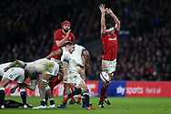 Danny Care of England © in action as Aaron Shingler of Wales attempts to charge him down. . England v Wales, NatWest 6 nations 2018 championship match at Twickenham Stadium in Middlesex, England on Saturday 10th February 2018.<br /> pic by Andrew Orchard, Andrew Orchard sports photography