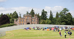 The castle as the site fills up. The opening of the T in the Park 2015 campsite for the very first year at its new home at Strathallan Castle.