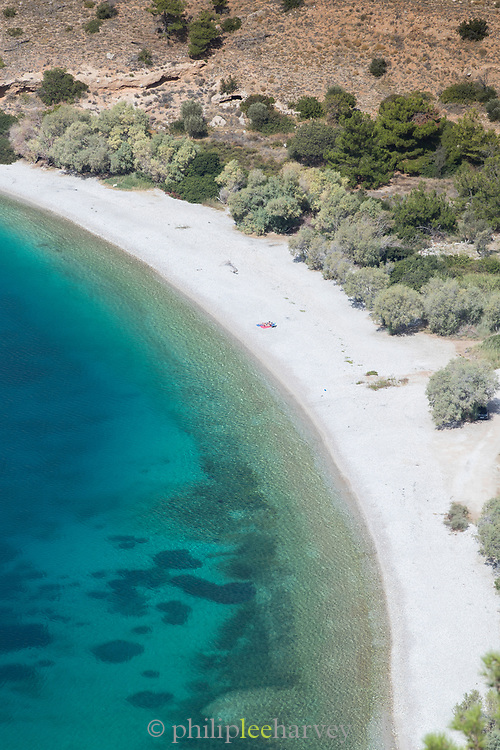 High angle view of sandy beach and blue sea, Elinda, Chios, Greece