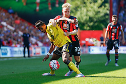 Scott Sinclair of Aston Villa keeps Matt Ritchie of AFC Bournemouth off the ball - Mandatory by-line: Jason Brown/JMP - Mobile 07966 386802 08/08/2015 - FOOTBALL - Bournemouth, Vitality Stadium - AFC Bournemouth v Aston Villa - Barclays Premier League - Season opener