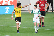 Hurricanes Ardie Savea speaks with match referee Paul Williams in the Super Rugby match, Hurricanes v Crusaders, Sky Stadium, Wellington, Sunday, April 11, 2021. Copyright photo: Kerry Marshall / www.photosport.nz