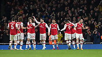 Football - 2019 /2020 FA Cup - Third Round: Arsenal vs. Leeds United.<br /> <br /> GranitXhaka (Arsenal FC) tries to encourage the fans after Reiss Nelson (Arsenal FC) scores the opening goal at the Emirates Stadium<br /> <br /> COLORSPORT/DANIEL BEARHAM