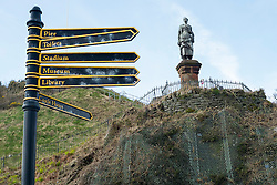 Statue of  Robert Burns' Highland Mary Campbell stands on  the hill close to the Castle House Museum overlooking the Dunoon Ferry Terminal<br /> <br /> 04 April  2015<br /> Image © Paul David Drabble <br /> www.pauldaviddrabble.co.uk