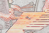 """Musicians playing a duet on an orchestral marimba rendering in a textural pastel or crayon-like style. <br /> <br /> For IMAGE LICENSING just click on the """"add to cart"""" button above.<br /> <br /> Fine Art archival paper prints for this image as well as canvas, metal and acrylic prints available here:<br /> https://2-julie-weber.pixels.com/featured/toccata-julie-weber.html"""