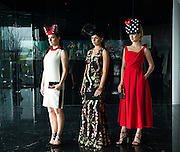 Catwalk models Gayle Kelly,  Tirna Slevin,  and Kelly McGrath,  in the g hotel for the launch of The Galway Races 2016 Summer Festival which runs from the 25th of July to the 31st of July in Galway City. Photo: Andrew Downes :