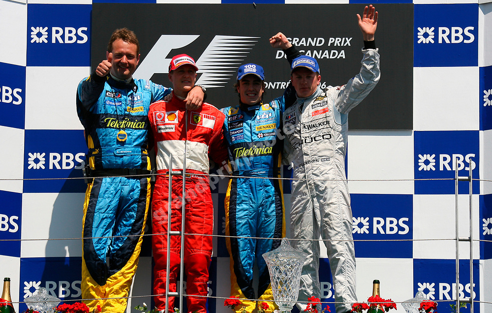 Renault team manager Steve Nielsen, Michael Schumacher (Ferrrari), Fernando Alonso and Kimi Raikkonen (McLareb-Mercedes) on the podium after the 2006 Canadian Grand Prix at the Circuit Gilles Villeneuve in Montreal. Photo: Grand Prix Photo