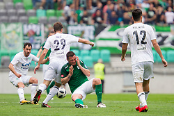 Josip Balic of NK Krsko and Leon Benko of NK Olimpija Ljubljana during football match between NK Olimpija Ljubljana and NK Krsko in Round #35 of Prva liga Telekom Slovenije 2017/18, on May 23, 2018 in SRC Stozice, Ljubljana, Slovenia. Photo by Urban Urbanc / Sportida