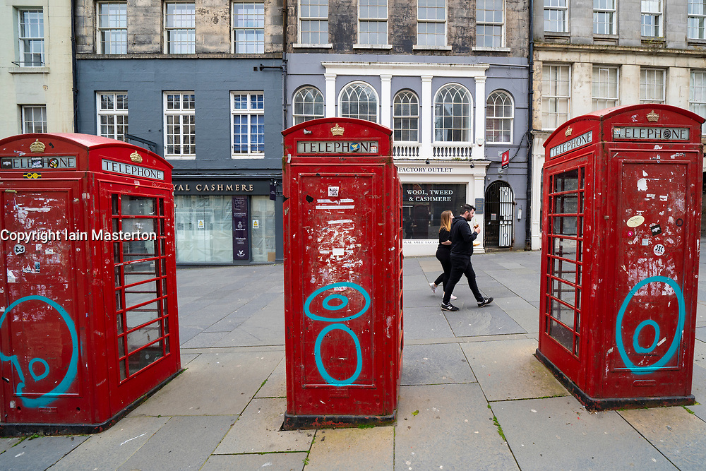 Edinburgh, Scotland, UK. 2 July, 2020. Because no tourists can travel to the UK, tourist shops on the normally busy Royal Mile in Edinburgh Old Town remain shut and boarded up. Streets are still mostly deserted since few locals live in the area. Iain Masterton/Alamy Live News
