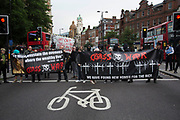Class War march on Boris Johnson's house in Islington on Friday 15th July in London, United Kingdom. The anarchist group organised this event weeks ago well before Boris Johnson became Foreign Secretary, which has only inflamed the anger amongst protesters at the class and wealth divide between rich and poor and the gentrification of London.