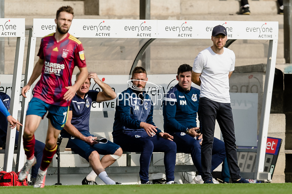 Bristol Rovers Manager Ben Garner is calm on the touch line during the EFL Sky Bet League 1 match between Bristol Rovers and Ipswich Town at the Memorial Stadium, Bristol, England on 19 September 2020.