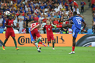 France Midfielder Paul Pogba shoots at goal during the Euro 2016 final between Portugal and France at Stade de France, Saint-Denis, Paris, France on 10 July 2016. Photo by Phil Duncan.