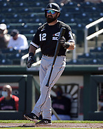 GOODYEAR, ARIZONA - MARCH 06:  Adam Eaton #12 of the Chicago White Sox looks on against the Cleveland Indians during a spring training game on March 6, 2021 at Goodyear Ballpark in Goodyear Arizona.  (Photo by Ron Vesely) Subject:  Adam Eaton