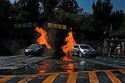 USA, Los Angeles California, Universal Studios cars burning