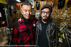 Kiyo with a friend at the Mooneyes shop and Japan HQ party after the annual Mooneyes Hot Rod and Custom Show. Japan. Monday, December 8, 2014. Photograph ©2014 Michael Lichter.