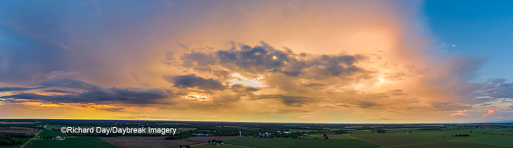 63891-03117 Aerial view of thunderstorm clouds at sunset Marion Co. IL