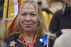 November 12, 2016 - Manchester, England, United Kingdom - Tina Rothery, a member the Frack Free Lancashire campaign, attends a protest rally against hydraulic fracturing, also known as 'fracking', on November 12, 2016 in Manchester, England. Hydraulic Fracturing is expected to take place in various locations around England, whilst the Northern Irish, Scottish and Welsh Governments has introduced moratoriums on the gas extraction method. Although fracking is a controversial form of energy extraction, due to environmental concerns, fracking is supposed to provide cheaper and more secure energy for the United Kingdom's domestic energy market. (Credit Image: © Jonathan Nicholson/NurPhoto via ZUMA Press)