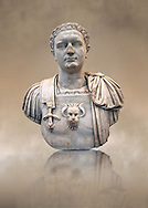 Roman marble sculpture bust of Emperor Domitian  81-96 AD, inv 6061 Farnese Collection , Naples Museum of Archaeology, Italy ..<br /> <br /> If you prefer to buy from our ALAMY STOCK LIBRARY page at https://www.alamy.com/portfolio/paul-williams-funkystock/greco-roman-sculptures.html . Type -    Naples    - into LOWER SEARCH WITHIN GALLERY box - Refine search by adding a subject, place, background colour, museum etc.<br /> <br /> Visit our CLASSICAL WORLD HISTORIC SITES PHOTO COLLECTIONS for more photos to download or buy as wall art prints https://funkystock.photoshelter.com/gallery-collection/The-Romans-Art-Artefacts-Antiquities-Historic-Sites-Pictures-Images/C0000r2uLJJo9_s0c