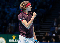 Tennis - 2017 Nitto ATP Finals at The O2 - Day Five<br /> <br /> Group Boris Becker Singles: Alexander Zverev (Germany) Vs Jack Sock (United States)<br /> <br /> Alexander Zverev (Germany) with a fist pump celebration after he takes the second set at the O2 Arena<br /> <br /> COLORSPORT/DANIEL BEARHAM