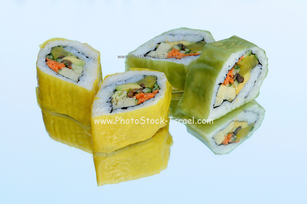 Inside out Sushi  covered with cucumber
