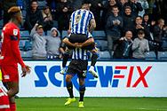 Goal Steven Fletcher of Sheffield Wednesday celebrates with Massimo Luongo of Sheffield Wednesday as he scores a goal 1-0 during the EFL Sky Bet Championship match between Sheffield Wednesday and Wigan Athletic at Hillsborough, Sheffield, England on 5 October 2019.