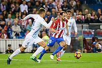 Atletico de Madrid's player Juanfran Torres and Malaga CF Mikel Villanueva Alvarez during a match of La Liga Santander at Vicente Calderon Stadium in Madrid. October 29, Spain. 2016. (ALTERPHOTOS/BorjaB.Hojas)